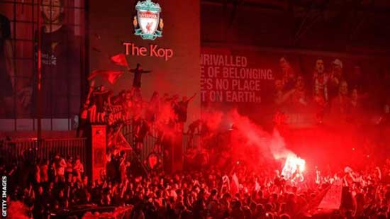 Thousands of Liverpool fans gathered at Anfield to celebrate their side's first title in 30 years