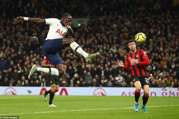 Moussa Sissoko volleyed home Tottenham's third to put the hosts further ahead and the game seemingly to bed.
