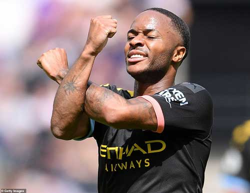 Sterling celebrates after scoring his second goal of the game as City secured a 5-0 victory away to West Ham - Getty image