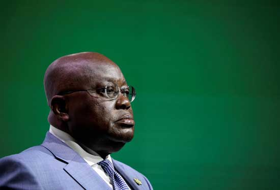 Ghana's President Nana Akufo-Addo addresses the Investing in African Mining Indaba conference in Cape Town, South Africa February 5, 2019. REUTERS/Mike Hutchings
