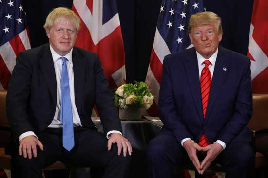 File image - U.S. President Donald Trump holds a bilateral meeting with British Prime Minister Boris Johnson on the sidelines of the annual United Nations General Assembly in New York City, New York, U.S., September 24, 2019. Reuters photo