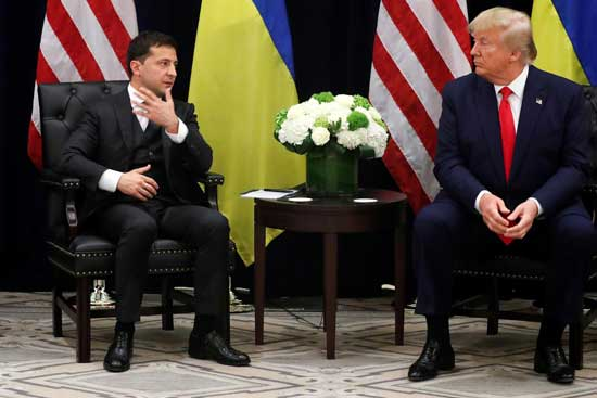 Ukraine's President Volodymyr Zelenskiy speaks as he and U.S. President Donald Trump hold a bilateral meeting on the sidelines of the 74th session of the United Nations General Assembly (UNGA) in New York City, New York, U.S., September 25, 2019. REUTERS/Jonathan Ernst