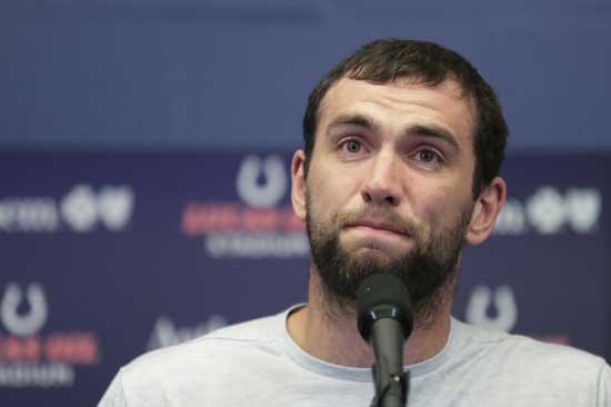ndianapolis Colts quarterback Andrew Luck speaks during a news conference following the team's NFL preseason football game against the Chicago Bears, Saturday, Aug. 24, 2019, in Indianapolis. The oft-injured star is retiring at age 29. (AP Photo/Michael Conroy)
