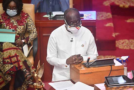 Mr. Ken-Ofori-Atta presenting the 2020 Mid-Year Budget Review to Parliament. Image credit - Ghanaian Times