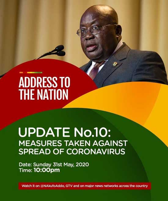 Full Text: Address To The Nation By The President Of The Republic, Nana Addo Dankwa Akufo-Addo, On Updates To Ghana's Enhanced Response To The Coronavirus Pandemic(Update No.10)