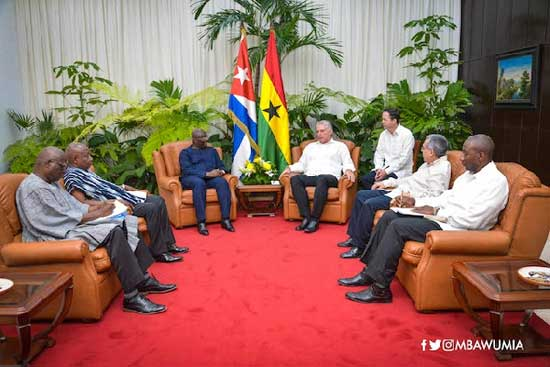 Dr Mahamudu Bawumia (in blue) in a bilateral talks with the President of Cuba, Miguel Diaz-Canel.