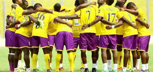 File image – Medeama SC players in a prayer circle. Image credit – images_image