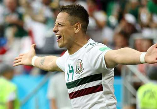 Javier Hernandez celebrates his milestone 50th goal for Mexico in his side's 2-1 win over South Korea.