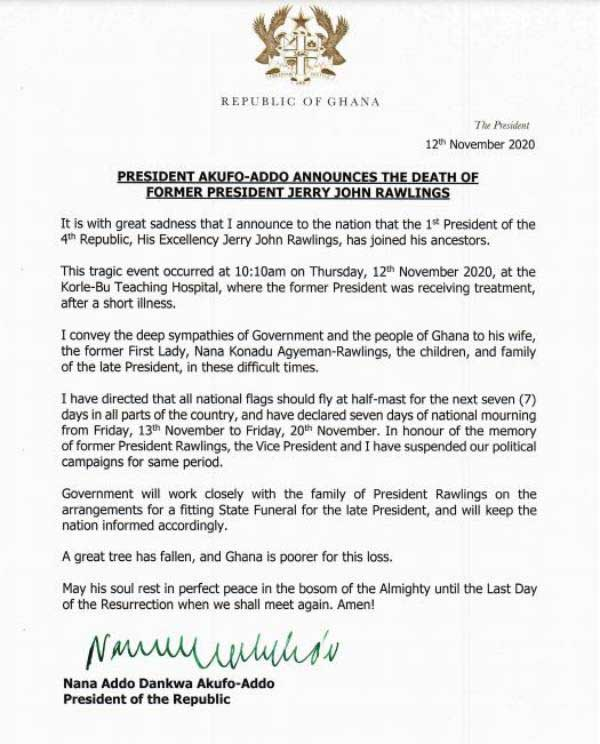 akufo addo rawlings statement