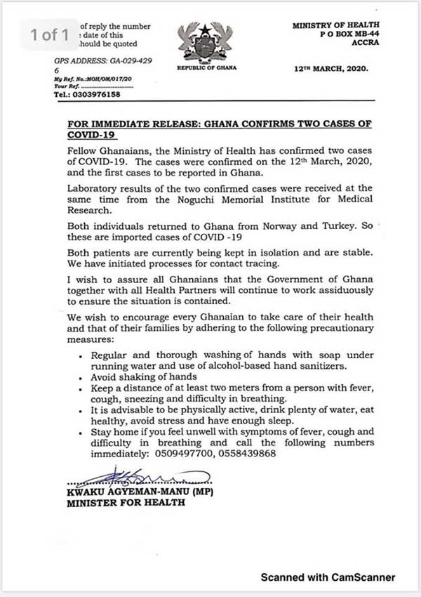Ghana confirms 2 cases of 'imported' Coronavirus