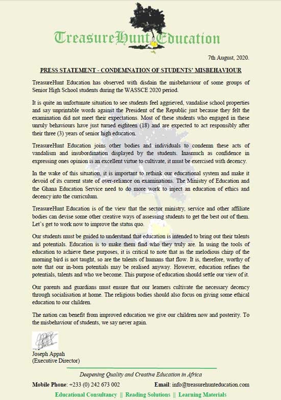 Press Release: TreasureHunt Education Condemns Students' Misbehaviour