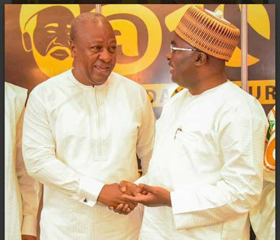 File image - Former president John D. Mahama (L) exchanging pleasantries with VP Mahamudu Bawumia in this undated image.
